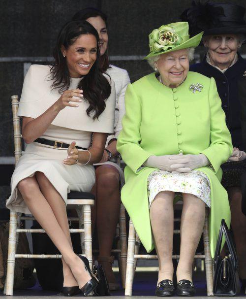 Gute Laune: Die Queen und Meghan Markle unterhielten sich bestens. AP