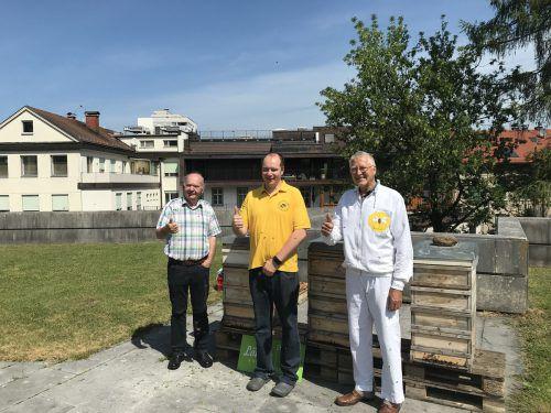 Imkerpräsident Egon Gmeiner, Stefan und Manfred Hechenberger freuen sich über das Projekt im Landhaus.VN/HK