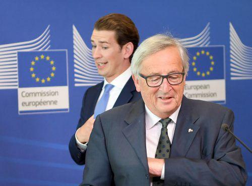 Kanzler Kurz und Kommissionspräsident Juncker sehen weniger Differenzen als Schnittmengen zwischen Österreich und der EU-Kommission. APA