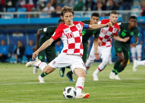 Luka Modric stellte per Elfmeter den 2:0-Sieg über Nigeria für Kroatien sicher.reuters