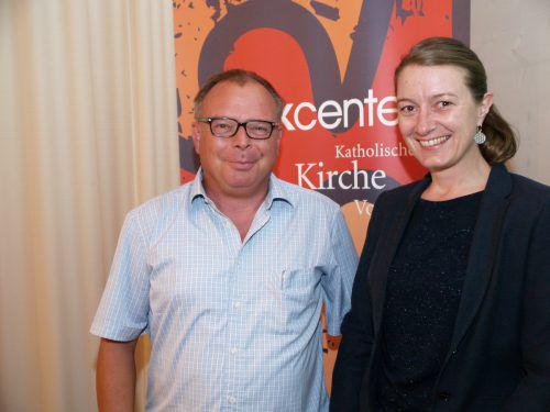 Moderator Thomas Matt und Organisatorin Christine Vonblon.