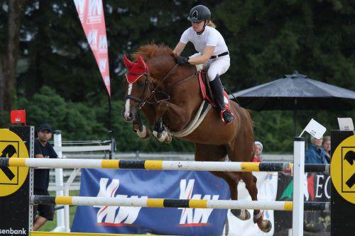 Monika Niederländer auf Amore wurde Springreit-Landesmeisterin der Allgemeinen Klasse.Schwämmle