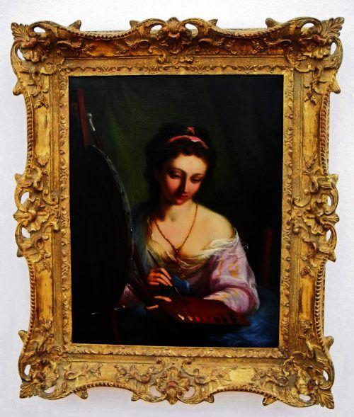 Porträt der Malerin Angelika Kauffmann (1741-1807) von Johann Heinrich Tischbein d. Jüngere, 1787. VN/cd