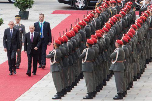 Präsident Wladimir Putin wurde in Wien von Alexander Van der Bellen mit militärischen Ehren begrüßt. afp