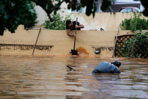 Schwere Regenfälle haben in Teilen Griechenlands Überflutungen verursacht. Rts