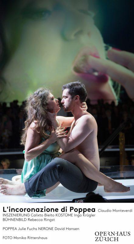 """Sex und Selfies: Julie Fuchs (Poppea) und David Hansen (Nerone) in """"L'incoronazione di Poppea"""" von Claudio Monteverdi in Zürich. Opernhaus/Monika Rittershaus"""