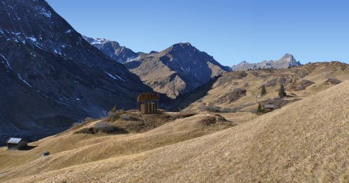Standort der Kapelle des bekannten, aus Vorarlberg stammenden Künstlers Flatz ist die Alpe Gaisbühel im Lecher Gemeindegebiet. REndering/Strobl-Architekten