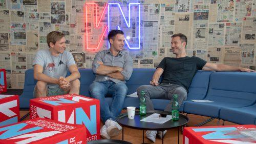 Alexander Bitsche, Florian Wassel und Peter Flatscher (v.l.) zu Besuch in der VN-Redaktion. VN/Lerch