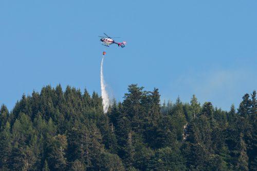Auch der Polizeihubschrauber Libelle war im Einsatz, um das Feuer zu bekämpfen.Der Brandausbruchsort war ein Grillplatz im Waldgebiet.  VN/STiplovsek