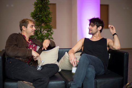 Bassist Reinhold Ray Weber (l.) und Gitarrist Manuel Christoph Poppe im VN-Interview. VN/Paulitsch