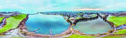 Das Hafenareal mit dem Strandbad und der Auflandungsfläche sowie dem Grünen Damm soll neu gestaltet werden. VN/Steurer