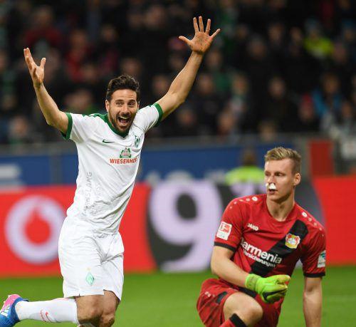 Der 39-jährige Pizarro will seine Karriere bei Bremen beenden.afp