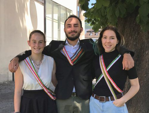 Der neue Vorstand der Mittelschülerverbindung Clunia: Sara Stöckl, Paul Wirtitsch, Alexa Bussman (v. l.) Clunia