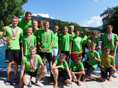 Die Bludenzer Schwimmer wurden für ihre ausgezeichneten Leistungen mit reichlich Edelmetall belohnt. SC Val Blu Bludenz