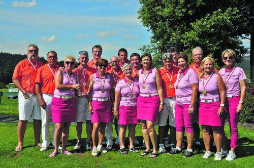 Die Damen des GC Riefensberg-Sulzberg und die Herren des GC Montfort-Rankweil feierten die Meistertitel.Golfverband Vorarlberg