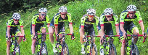 Die Fahrer des Team Vorarlberg Santic nehmen nach drei von acht Etappen der 70. Österreich-Radrundfahrt den zweiten Platz in der Gesamt-Mannschaftswertung ein.steurer