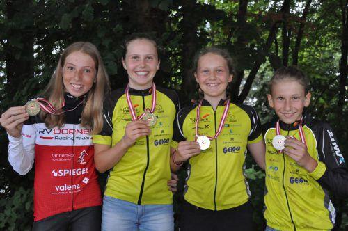 Die Vorarlberger Medaillengewinner in den Nachwuchsklassen (v. l.): Lisa Feurstein, Valentina Jopp, Katja Jopp und Maximilian Heule.RV Dornbirn
