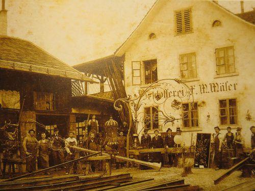 Kunstschlosserei Mäser in der Klostergasse um 1898. Stadtarchiv Dornbirn