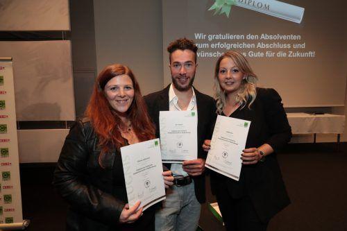Medieninformatiker Viktoria Selinschek, Jan Glatzel und Nadine Fetz.