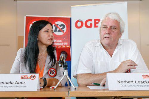 """ÖGB-GF Manuela Auer und Gewerkschaftspräsident Loacker kündigen Regierung einen """"heißen Herbst"""" an.ÖGB/HB"""