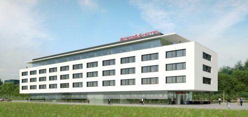 So sah der erste Entwurf für ein Business-Hotel in Lustenau aus. Nun soll statt eines Amedia-Hotels (Bild) ein Holiday Inn entstehen. ARch. Dieter Gross