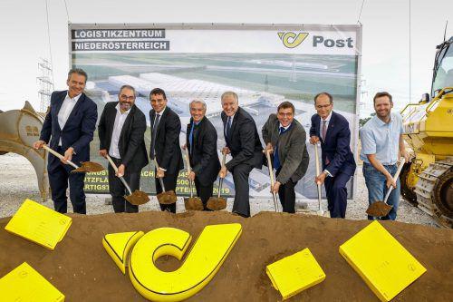Spatenstich für ein ambitioniertes Projekt: In Hagenbrunn entsteht ein komplettes, hochmodernes Logistikzentrum für die Österreichische Post AG. Husar