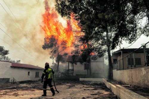 Starker Wind hatte die Flammen mit rasender Geschwindigkeit vor sich her getrieben. Die Feuerwehr war chancenlos. AFP