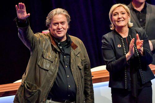 Steve Bannon hat bereits mit Marine Le Pen über seine geplante rechtspopulistische Revolte in der EU gesprochen. afp
