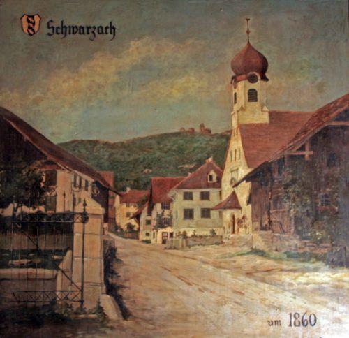 Um 1860 stand auf dem heutigen Friedhofsgelände in Schwarzach eine kleine Kapelle.