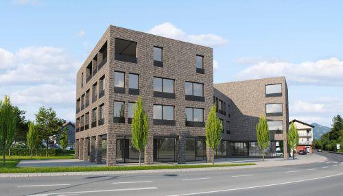 Zwei vierstöckige Gebäude samt Tiefgarage sollen entstehen. Rendering Gemeinde