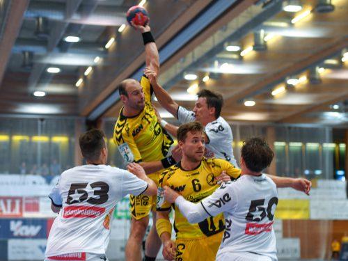 Bregenz-Neuzugang Vlatko Mitkov erzielte elf Sekunden vor dem Abpfiff den verdienten 28:28-Ausgleich im Heimspiel gegen Meister Margareten. GEPA
