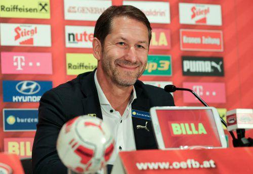 Der Deutsche Franco Foda freut sich gegen Bosnien-Herzegowina auf sein erstes Pflichtspiel als Cheftrainer des österreichischen Nationalteams.GEPA