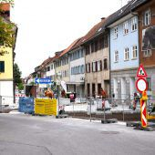 Straßensperre in Emser Innenstadt