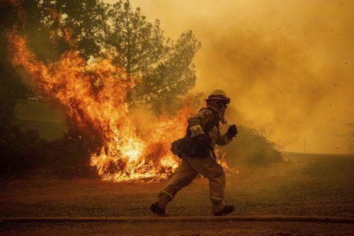 Ein Feuerwehrmann bringt sich vor den Flammen in Lakeport in Sicherheit. AP