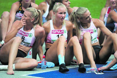 Verena Preiner, Sarah Lagger und Ivona Dadic, Österreichs Dreimäderlhaus im Siebenkampf, erholt sich von den Strapazen des Bewerbs. Nafissatou Thiam triumphierte nach dem Hypomeeting in Götzis auch bei der EM.Gepa, AP