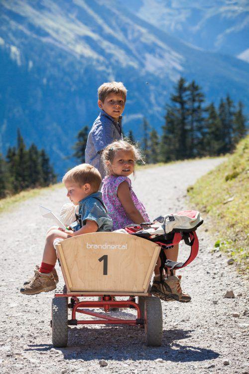 Besonders viel Spaß macht die Tour mit einem Bollerwagen, der an der Bergstation ausgeliehen werden kann.Huber/BTT