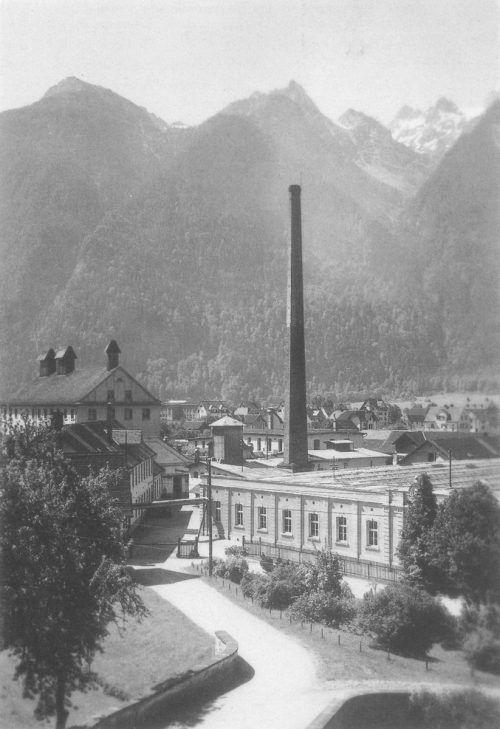 Die Bleiche in Bludenz im Jahr 1936. Der Betriebsstandort beherbergt bis heute die Zentrale des Unternehmens. Getzner