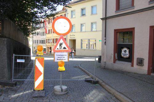 """Die Bregenzer Kirchstraße wird gerade im Zuge der """"Quartiersentwicklung Leutbühel"""" umgestaltet.VOL.AT"""