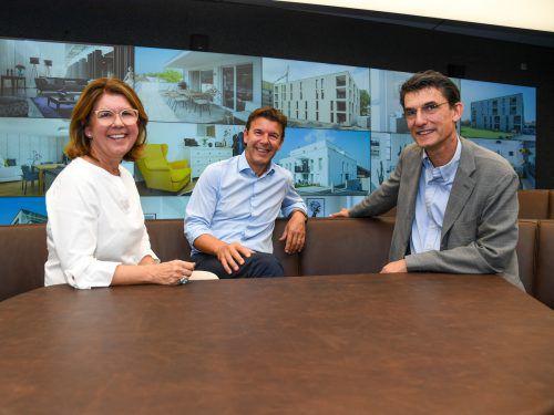 Die drei Geschwister Graziella, Wilfried und Christian Hefel leiten zusammen die Immobiliengruppe.VN/Lerch