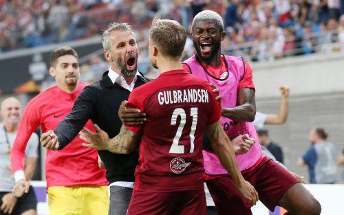 Die Freude über den prestigeträchtigen Sieg gegen Leipzig war bei Salzburg groß. Gepa