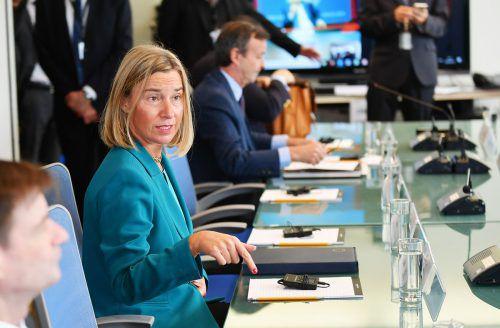 Federica Mogherini informierte in New York über die Iran-Politik der EU. afp
