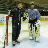 Rinne (r.) mit Coach Pekkarinen. C3