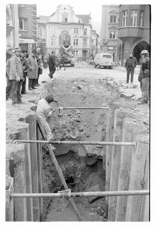 Großbaustelle am Leutbühel im Jahr 1972: Damals wurde der Kanal gebaut. Volare