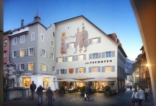 """In Bludenz können sich Interessierte ein Bild vom Baufortschritt des im Entstehen befindlichen Stadthotels """"Das Tschofen"""" machen.preite"""