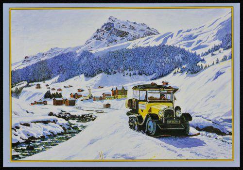 In den schneereichen Gebieten wurden die Busse im Winter mit Raupenantrieben ausgerüstet.