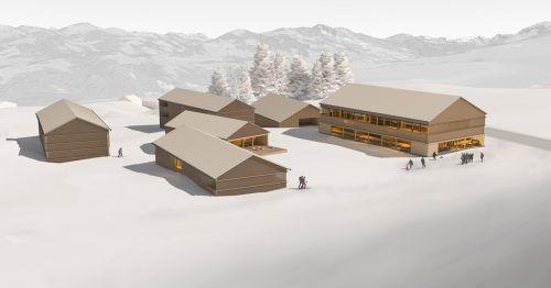 """""""Inspiriert von der Natur"""" ist das Motto des von den Architekten Philipp Lutz und Elmar Ludescher geplante Resort im Erholungsgebiet Schetteregg. Randering LL"""