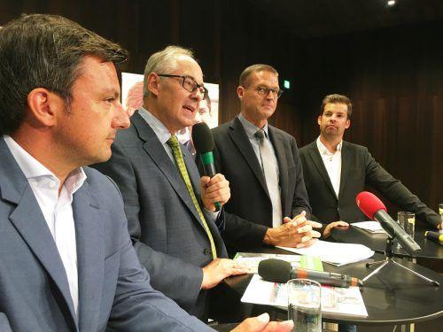 Martin Staudinger, Martin Essl, Christian Bernhard und Mathias Burtscher (v. l.) informierten über die berufliche Inklusion. VLK