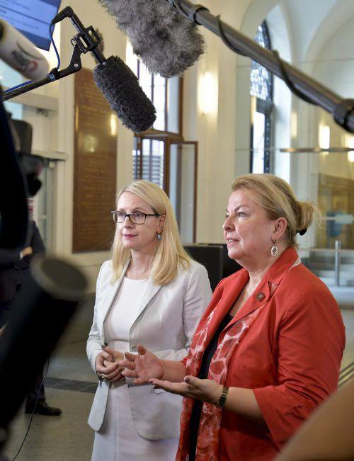 Ministerinnen Hartinger-Klein und Schramböck sind mit Jobgipfel zufrieden. APA