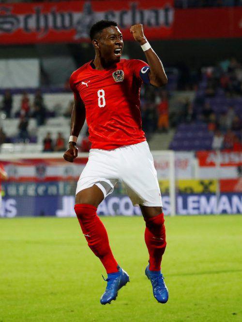 Schweden bleibt der Lieblingsgegner von David Alaba. Der Bayern-Legionär durfte gegen die Nordländer schon wieder einen Treffer bejubeln.gepa
