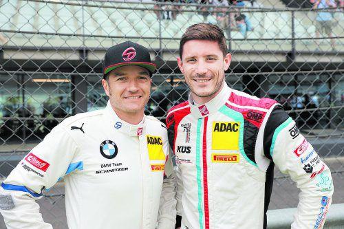 Timo Scheider (l.) und Kévin Estre belegten im ADAC-GT-Masters in der Gesamtwertung die Endränge sechs und elf.Noger